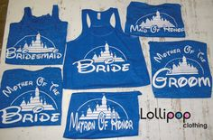Love these - Bridal set of tanks for a bridesmaids and groomsmen gifts. (Bridesmaid tank, Bachelorette party, Maid of Honor, Mother of the Bride, Mother of the Groom) Disney Bachelorette, Bachelorette Party Shirts, Disneyland, Bridesmaid Tanks, Future Mrs, Before Wedding, Wedding Gifts, Wedding Ideas, Wedding Stuff
