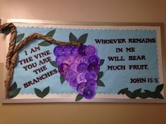 """S's bulletin board """"I am the vine."""" Children's pictures are in the paper plates that they water colored :) Religious Bulletin Boards, Bible Bulletin Boards, Christian Bulletin Boards, Summer Bulletin Boards, Vbs Themes, Classroom Bulletin Boards, Kids Church, Church Ideas, Christian School"""