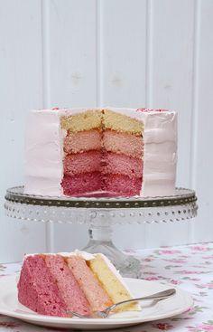 Raspberry ombre cake, by El Rincón de Bea.