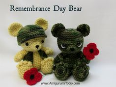 Amigurumi To Go: Little Remembrance Day Bear **Pattern for HAT, VEST, & POPPY with a LINK to the FREE Bear Pattern.
