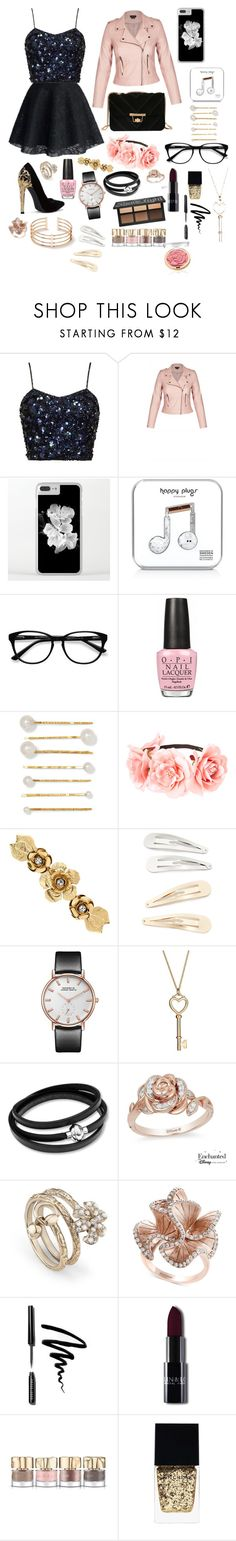 """""""Date night"""" by m14pineapples ❤ liked on Polyvore featuring Happy Plugs, EyeBuyDirect.com, OPI, Jennifer Behr, Matthew Williamson, Kitsch, Disney, Gucci, Effy Jewelry and Bobbi Brown Cosmetics"""