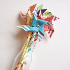 6 12 18 or 24 Paper Pinwheels // Rainbow Pinwheels by PartyHappier