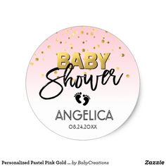 Personalized Pastel Pink Gold Baby Shower Labels