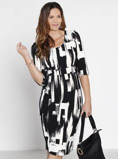 """Play up your work wardrobe using monochrome with our """"Busy Mummy"""" Cotton Nursing Dress in Texture Print, $59.95."""