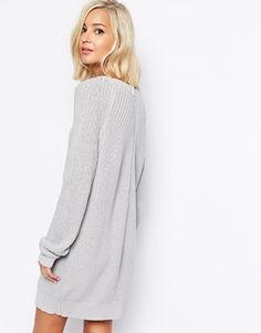 cozy Zip Back Sweater Dress - asos