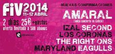¡¡NUEVAS CONFIRMACIONES para el FIV 2014!! Amaral, Second, Los Coronas, Eagulls...  ¡¡Consulta toda la info!!