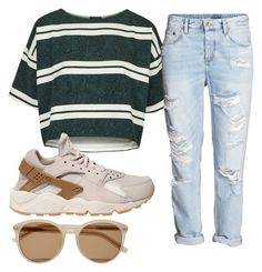 """Vivid Dreams "" by bigdaddylii ❤ liked on Polyvore featuring Topshop, NIKE, H&M and Yves Saint Laurent"