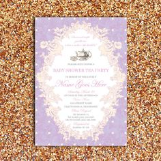 Vintage, Floral Baby Shower or Bridal Tea Party Invitation | DIY Printable Digital File by FOXYOXIE on Etsy