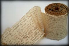 book print stamped ribbon or tissue for wrapping   |   This art that makes me happy