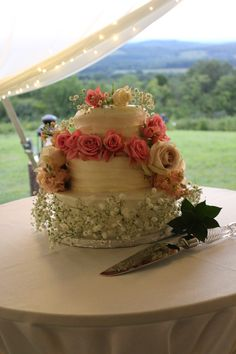 Even the cake was a simple elegant display of a rustic wedding.