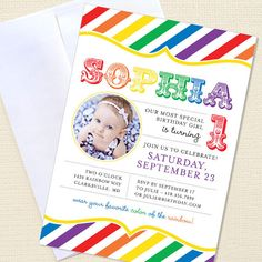Awesome Rainbow Invites!  I'm using these for Charlotte's 3rd Birthday!