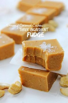 """Dreamy creamy cashew coconut fudge that you can whip up in minutes!  Does everyone know what """"pick n' mix"""" is? The candy that's displayed in buckets, commonly in Irish movie theatres, where you select"""