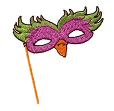 """Embroidery Online has just posted this free embroidery design. It's the """"Mardi Gras Bird Mask"""". Don't wait! Get it now."""