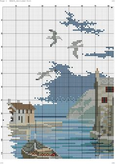 Photo Cross Stitch Charts, Cross Stitch Designs, Cross Stitch Patterns, Cross Stitch Landscape, Bargello, Le Point, Amigurumi Doll, Embroidery Patterns, Photo Wall