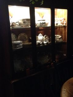 My mothers hutch from Germany and my collection of Johnson Brothers friendly village