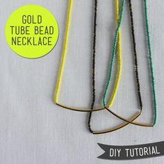 DIY Tutorial – Gold Tube Bead Necklace — Sew DIY