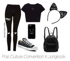 """""""Pop Culture Convention X Jungkook"""" by dambiii ❤ liked on Polyvore featuring Topshop, Converse, Casetify, STELLA McCARTNEY, Maison Close, bts and jungkook"""