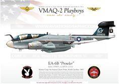 "UNITED STATES MARINE CORPS : Manufacturer: Grumman / Model: EA-6B Prowler // MARINE TACTICAL ELECTRONIC WARFARE SQUADRON TWO  VMAQ-2 ""Playboys""  Marine Corps Air Station Cherry Point, North Carolina. 1983"