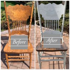 Oak pressed back chairs redone with chalk paint Chair makeover Old chair makeover Restoring Old Furniture, Refurbished Furniture, Furniture Makeover, Repurposed Furniture, Dining Table Makeover, Farmhouse Dining Room Table, Kitchen Chair Makeover, Kitchen Tables, Kitchen Decor