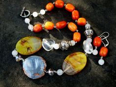 Blue Agate and Pumpkin Orange Quartzite Jewelry Set by Margica, $84.00