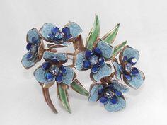 Vintage Weiss Rhinestone Enamel GT Large Blue Flower Brooch Pin | eBay
