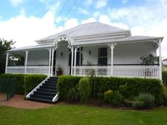 All white . Queenslander House, Weatherboard House, Investment House, Front Verandah, Sandstone Wall, Facade House, House Exteriors, House Paint Exterior, Beach Design