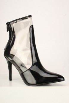 0f5face4a95 Sexy Black Clear Patent Pointy Toe Single Sole Booties Faux Leather ...
