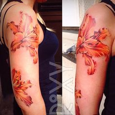 Sleeve beginnings at Stockholm Ink   #lilytattoo #liliestattoo #lily #lilies #stockholm #femaletattooartist #stockholminktattoo #londontattoo #londontattooartist #ukartist #colourtattoo #sleevetattoo #flowertattoo #flowersleeve #fullsleevetattoo