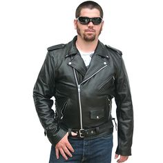 Mens Classic Leather Motorcycle Jacket MJ400