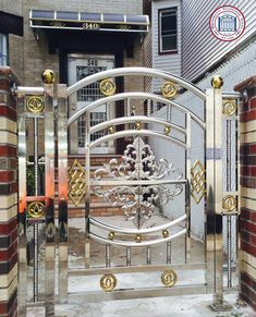 Stainless Steel Works Gallery - BrooklynStainlessSteel.com - Brooklyn Stainless Steel Steel Grill Design, Steel Railing Design, Balcony Railing Design, Stainless Steel Stair Railing, Stainless Steel Handrail, Stainless Steel Doors, Front Gate Design, Main Gate Design, Door Gate Design