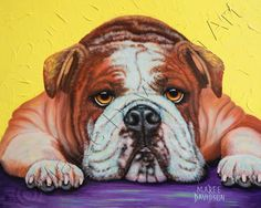 ENGLISH BULLDOG, Dog Prints, A3 Matted Prints, Animal Print, Colorful Artwork, Animal Prints, Artist Print, Archival Products, Quirky Animal