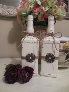 Pair of Upcycled Bottles Painted & Distressed by PetuniasCorner, $18.00
