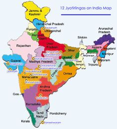 Set of twelve Shiva Lingas spreading the entire Indian subcontinent, considered as jyotirlingas