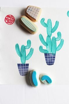 hand carved rubber stamps by talktothesun. 4 part stamps. botanical plant stamp series for gardening, summer diy crafts. about - planter pot stamp. Diy And Crafts, Arts And Crafts, Paper Crafts, Potato Stamp, Eraser Stamp, Stamp Carving, Handmade Stamps, Stamp Printing, Hand Carved