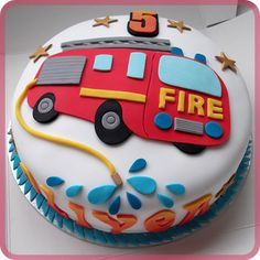 Fire Engine Birthday Cake cakepins.com
