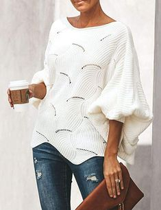 a3356130e5c3 Relipop Women s Pullover Batwing Sleeve Loose Hollow Knit Sweaters at Amazon  Women s Clothing store  https