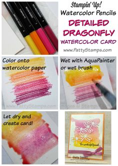 Watercolor pencil background tutorial for the Detailed Dragonfly thinlit cards f. - Watercolor pencil background tutorial for the Detailed Dragonfly thinlit cards featuring the waterc - Card Making Tips, Card Making Tutorials, Card Making Techniques, Making Ideas, Techniques Crayons Aquarelle, Watercolor Techniques, Stampin Up Anleitung, Karten Diy, Stamping Up Cards