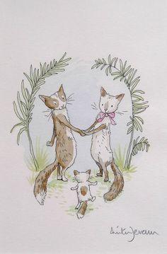 Anita Jeram - And baby came too Animal Sketches, Animal Drawings, Cute Drawings, Illustration Mignonne, Art Et Illustration, Anita Jeram, Image Chat, Thomas Kinkade, Cat Art