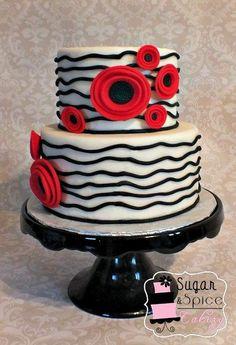 Red and Black Poppy cake Pretty Cakes, Beautiful Cakes, Amazing Cakes, 40th Birthday Cakes, Birthday Cakes For Women, Cupcakes, Cupcake Cakes, Poppy Cake, Cake Works