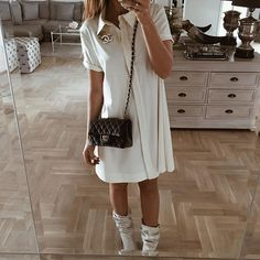 Let it loose, feel comfy&elegant. Our new LISE dress with collar and a front pleat is just girly and beautiful! Let It Loose, Collar Dress, Timeless Fashion, Spring Fashion, White Dress, Girly, Short Sleeve Dresses, Ootd, Comfy
