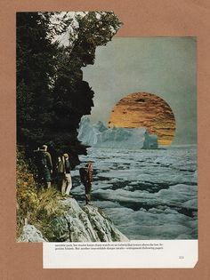 An adventure reimagined by artist Nathaniel Whitcomb through National Geographic collages. More images here: http://www.dazeddigital.com/artsandculture/article/19518/1/how-to-create-a-moving-collage