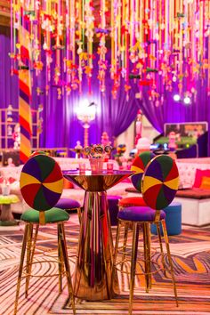 Our custom made Willy Wonka Themed Buenos Aires Barstools paired with Washington Stand up table for this fun corporate hospitality suite! (Design/Rentals: for Florals: Photo: Venue: Decals/Stage Backdrop: Tenting: Lighting: AV/Stage: Event Themes, Room Themes, Event Decor, Stand Up Table, Candy Room, Stage Decorations, Chocolate Factory, Swirl Design, Reception Table
