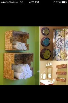 Great Way To Store Towels In Your Bathroom  *use IKEA magnet strip and magnetic containers for cotton balls, q-tips, and hair bows