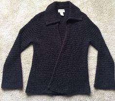 Gianni Women's Purple Black Checkered Shaw Cardigan Sweater Size M Petite   eBay