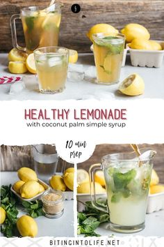 This healthy homemade lemonade is perfect to quench your thirst. It's made with real lemons, not loaded with sugar, and without refined white sugar. It's the best drink for summer. Healthy Lemonade, Homemade Lemonade, Fun Drinks, Yummy Drinks, Drink Recipes Nonalcoholic, Non Alcoholic Drinks, Simple Syrup, Coconut, Sugar