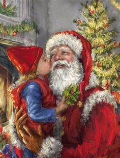 Rhinestone Mosaic Santa Claus 6 Style DIY Diamond Painting Full Square Diamond Home decor Christmas Kiss, Christmas Scenes, Father Christmas, Christmas Pictures, Illustration Noel, Santa Pictures, Santa Claus Is Coming To Town, Christmas Paintings, Old Fashioned Christmas
