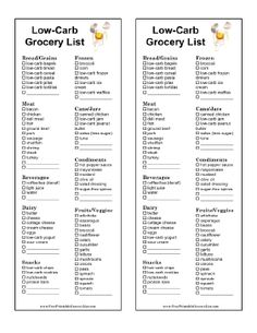 Followers of Atkins, South Beach, or other low carbohydrate diets can make use of this printable grocery list prefilled with protein-packed foods as well as foods in every category. Prints two per page and is illustrated with an egg. Free to download and print