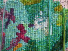 Angela Brennan | 'Point Addis' - Work in progress (2013) | Australian Tapestry Workshop | Weavers: Milena Paplinska, Chris Cochius