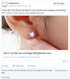 Get these earrings for just a penny plus. Diamond Earrings, Stud Earrings, Krystal, Posts, Engagement Rings, Facebook, Silver, Jewelry, Enagement Rings