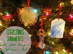 Christmas Ornaments with Mod Podge and Children's Art mod podg, craft idea, art kids, holiday idea, christma ornament, children art, christmas ornaments, child art, modpodg